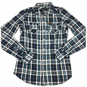 G-Star-Raw-Mens-Pearl-Snap-Long-Sleeve-Check-Shirt-Size-XS