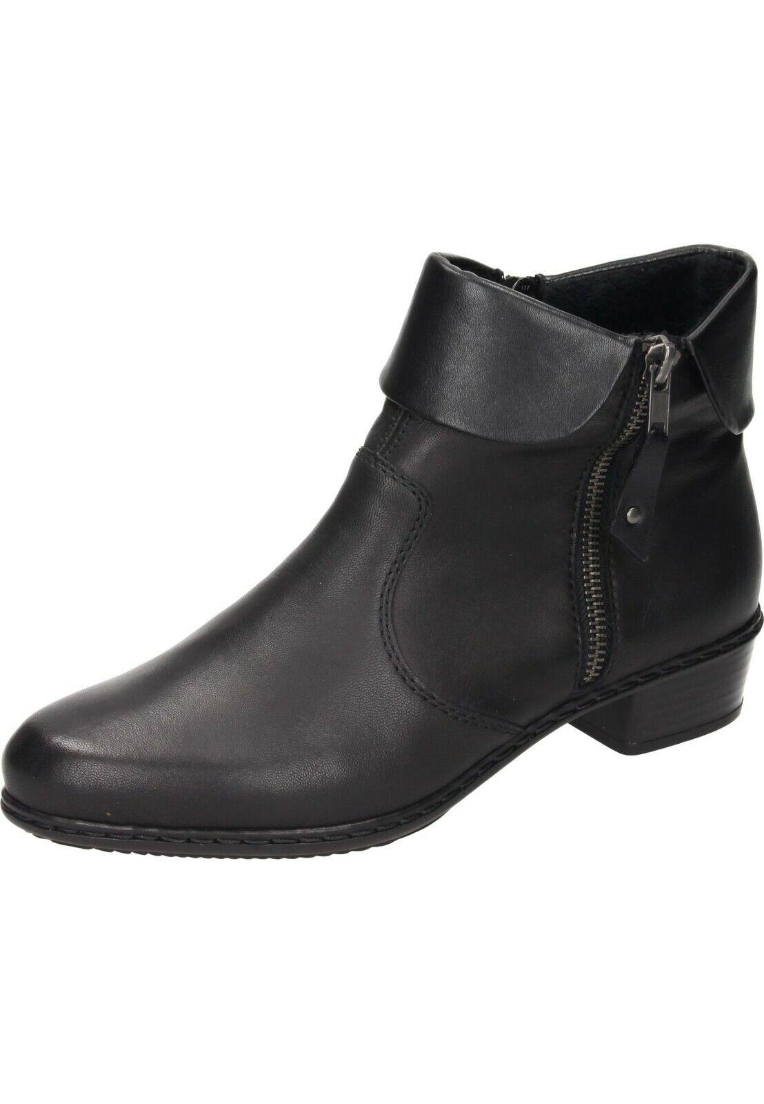Rieker Y07A8-00 Stiefeletten Leder Ankle Stiefel Schuhe schwarz Gr.36-42 Neu1