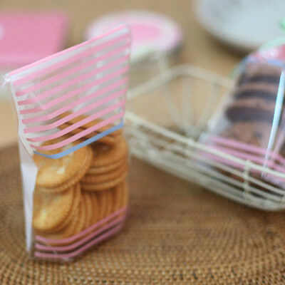 pink & blue stripes food gift treat cellophane cello bags w/ twist ties party