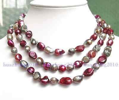 """NEW long 42 """"8-9mm baroque multicolor freshwater pearl necklace  AAA SD200"""