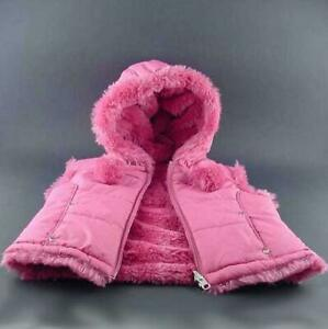 Puffy-Vest-w-Hood-Toddler-Girls-Sz-3T-Reversible-Minky-Fur-Berry-KC-Collections