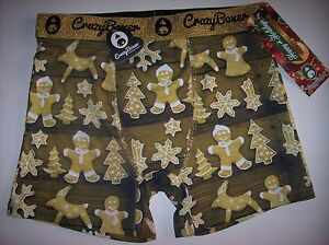 Crazy-Boxer-Underwear-Mens-Boxer-Briefs-1-Pr-Gingerbread-Graphic-S-M-L-XL