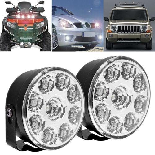 2PCS 9LED DRL Car Fog Lamp Round Driving Running Daytime Light Head Light White^