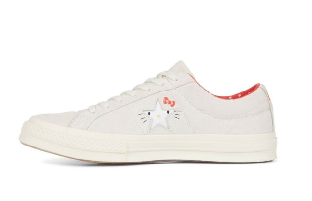 NEW WOMEN'S SIZE 10.5 CONVERSE x HELLO KITTY ONE STAR OX SHOES GRAY AUTHENTIC