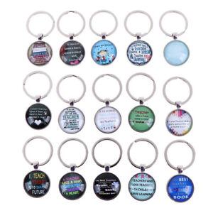 New-Teacher-039-s-Day-Gift-Time-Gem-Key-Ring-Europe-America-Glass-Pendant-KeyChai-KQ