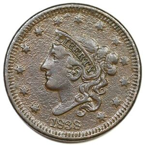 1838-N-15-R-5-Matron-or-Coronet-Head-Large-Cent-Coin-1c