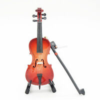 1:12 Wood Cello Violin Bow Miniature Musical Instrument With Case & Holder Gift