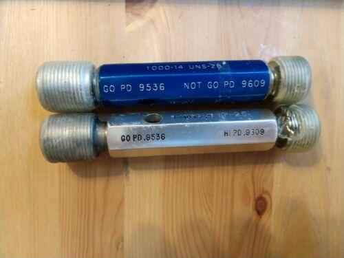 """1/"""" 14 2B THREAD PLUG GAGE 1.00 GO NO GO P.D./'S = .9536 /& .9609 TOOLING"""