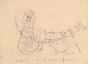 Horse and Trap Carriage – Original early 19th-century graphite drawing