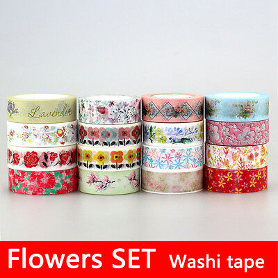 15mmX10M Flowers SET PATTERN Print DIY Decorative Masking Japanese Washi Tapes