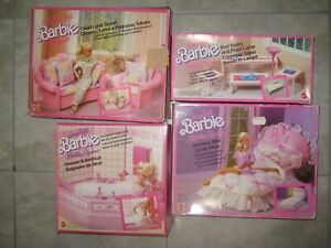 Vintage 1980 90s Barbie Dollhouse Furniture Bed Bath Table Couch Box Sets Used Ebay