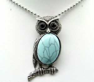 Natural-Turquoise-Gem-beads-animal-Owl-Retro-Silver-Pendant-necklace-Jewelry-P1