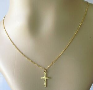 9ct Gold Necklace -  9ct Yellow Gold Patterned Cross Pendant & Chain (1.8g)