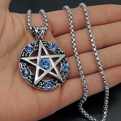 Celtic Wicca Pentacle Pentagram Star Blue CZ Stones Stainless Steel Pendant