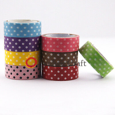 New Japanese 15mm Wide Dot Print DIY Sticker Decorative Craft Washi Tape
