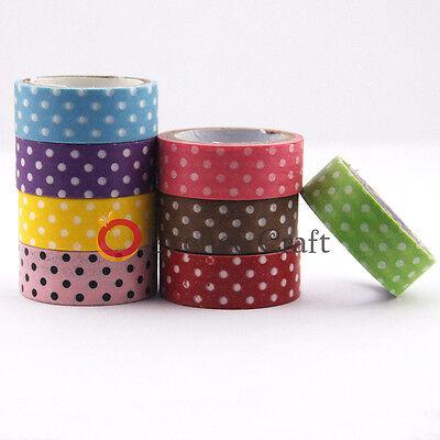 New Japanese 15mm Wide Dot Print DIY Sticker Decorative Craft Washi Tape