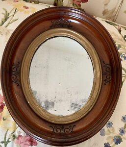 Vtg Oval Wall Mirror Deep Recess Frame w/ Carving and Guilded Accent