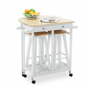 Kitchen Island Trolley rolling kitchen island trolley cart storage dinning table stools