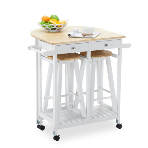 Kitchen Island Cart With Stools oak kitchen island cart trolley storage dining table 2 bar stools