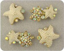 2 Hole Beads Starfish White w/Aurora Borealis Swarovski Crystal Elements ~ QTY 4