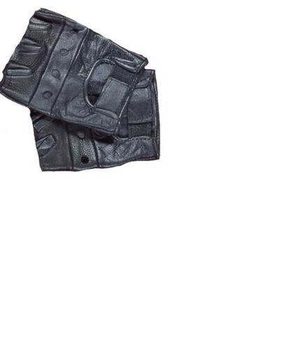 Tactical Black Leather Gloves Airsoft Paintball Shooting Fingerless X-Large 2