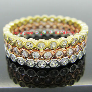 Real-Solid-9k-White-Yellow-Gold-Rose-Engagement-Wedding-3-Rings-set-Lab-Diamonds