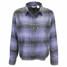 Levi's Women's Navy Blue Maple Utility Plaid Cropped L/S Flannel Shirt (S02)