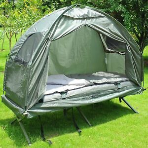 New-Outsunny-Single-Portable-Camping-Tent-Bed-Cot-w-Sleeping-Bag-Air-Mattress