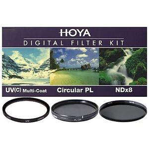 Hoya 40.5mm UV HMC + Cicular Polarizer CPL + NDx8 3-piece Filter Kit - Brand New