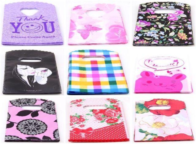 50Pcs Pretty Pattern Plastic Jewelry Gift Bag Handbag Shopping Bags 15x9cm