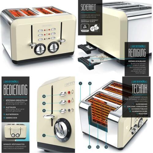 Automatik Toaster 4 Scheiben Edelstahlgehuse Bis Zu Vier Sandwich U Arendo