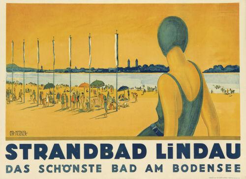"Vintage /""STRANDBAD LINDAU/"" Art Deco Travel Poster A1A2A3A4Sizes"