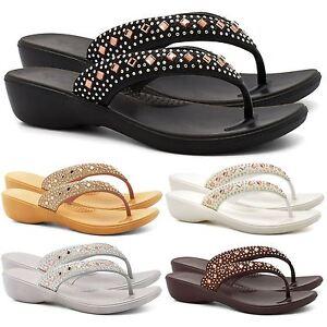 5122c65cebd0 New Womens Low Wedge Diamante Flip Flops Sandals Ladies ...