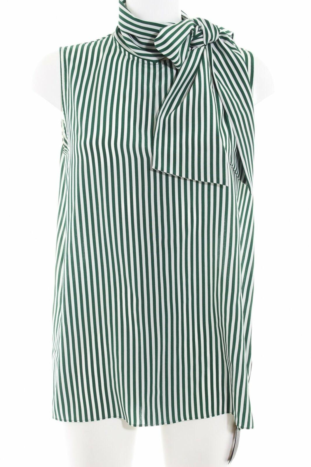 JOSEPH ärmellose Blause wollweiß-waldgrün Streifenmuster Business-Look Damen
