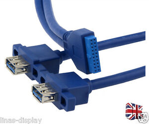 USB-3-0-Dual-Female-with-Screw-Mount-to-Motherboard-20pin-Header-Cable-50cm