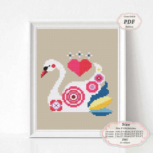 Swan Nursery art 080 Modern Embroidery Cross stitch PDF Pattern
