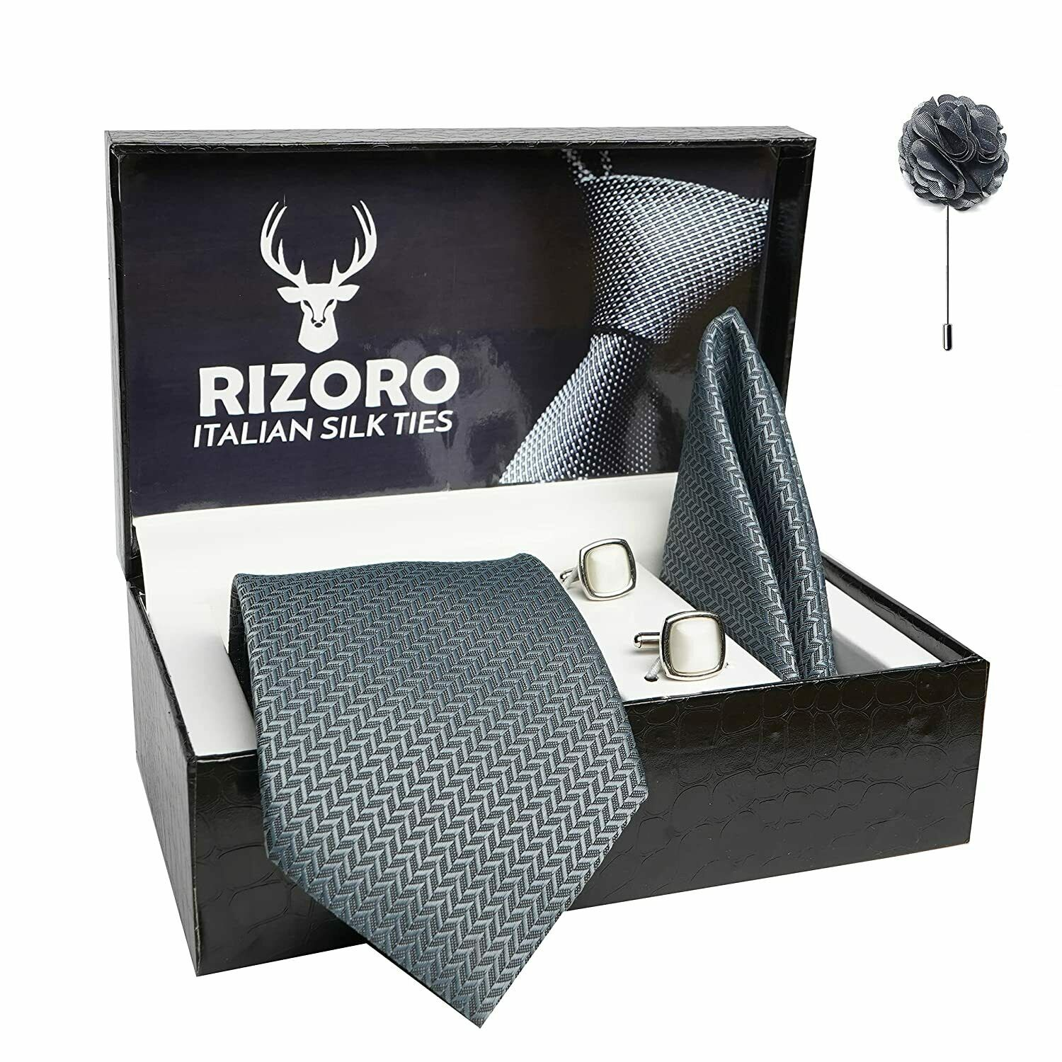Rizoro Mens Grey Tie & Brooch Pin with Cufflink Gift Set and PO Leatherite Box