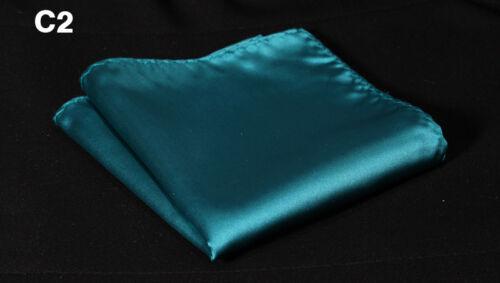 Mens Silk Handkerchief Pocket Square Hanky Plain Solid Color Wedding Party