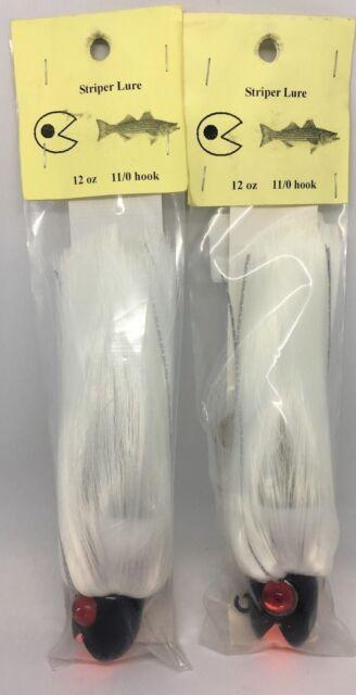 12 Bucktail Jigs 3//8oz Smilin/' Bill Striper Lures K93 color: white, 2//0 hook