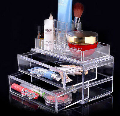 Clear Acrylic Transparent Make up Box Organiser Cosmetic Display Storage Case