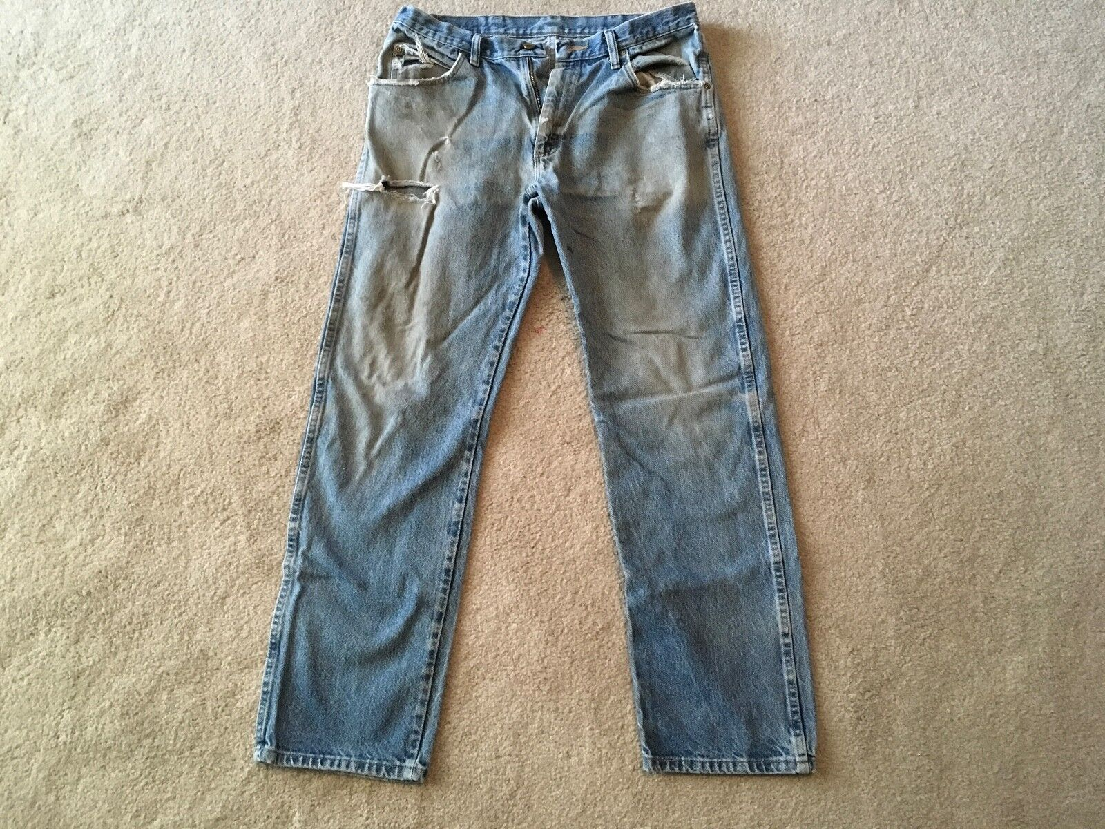 Naturally weathered dirty stained reg fit denim jeans 35X32.........Nature Made