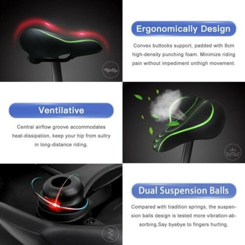 Cycling Wide Big Bum Bike Bicycle Gel Extra Comfort Sporty Soft Pad Saddle Seat