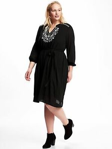 Details about NWOT OLD NAVY Embroidered-Yoke Plus-Size Shift Dress SZ 2X  Plus #707786 v616