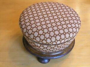 Early-Antique-Round-Exotic-Wood-Base-Needlepoint-Upholstery-Hand-Made-Stool-1of2