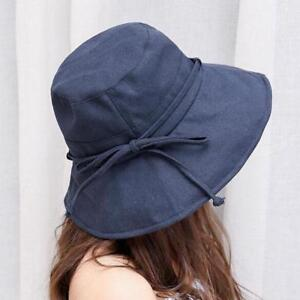 4ab90810c2f Women Summer Bucket Hats Beach Casual Solid Cotton Sun Hat 5 Colors ...