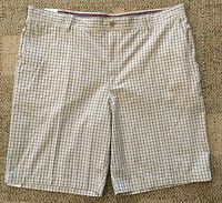 Izod Mens Size 40w Stone Beige Checks Yarn Dye Poplin Cotton Shorts
