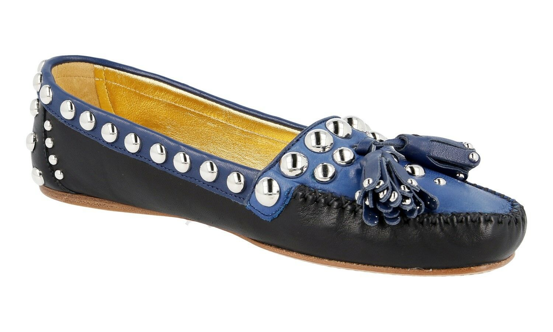 AUTHENTIC LUXURY PRADA PRADA PRADA LOAFER chaussures 1D779E noir bleu NEW US 6.5 EU 36,5 37 96f401