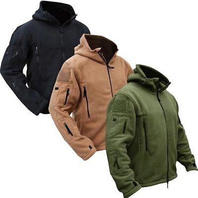 Men Tactical Military Winter Fleece Hooded Outdoor Jacket