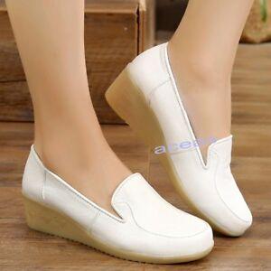 Hospital-Women-039-s-Faux-Leather-Wedge-Comfort-Nurse-Breathable-Work-Nursing-Shoes