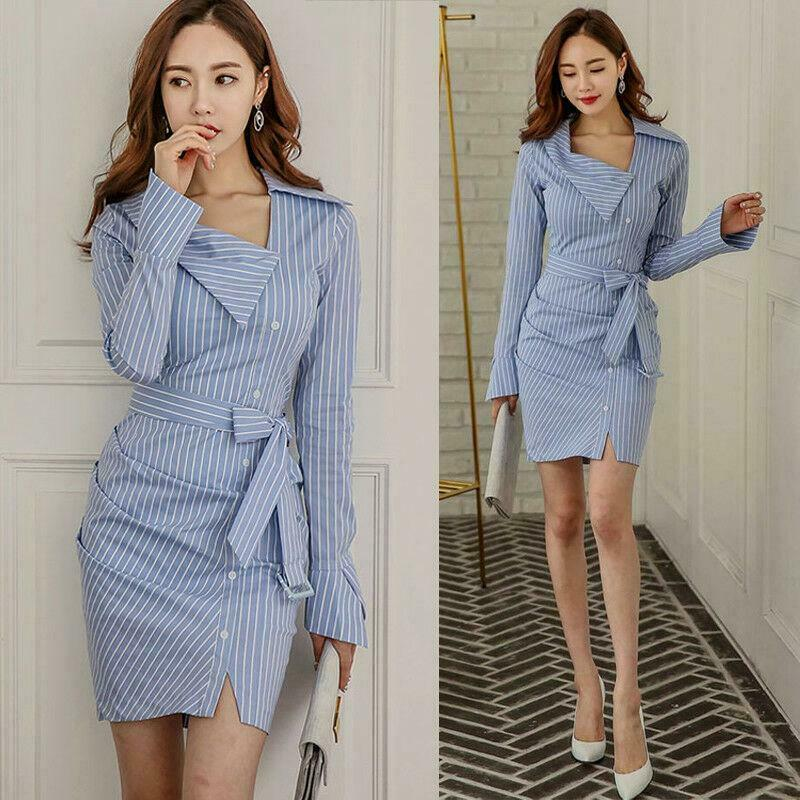 Fashion Womens Lapel Shirt Dress Striped Bodycon Bowknot Button Prom Party New Y